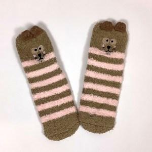 Non-slip gripper socks Cape Ivy brown squirrels