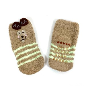 Toddler Fluffy non-slip gripper socks Cape Ivy Striped Squirrels