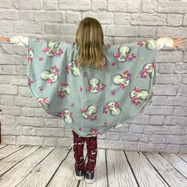 Child Hospital Gift Fleece Poncho Cape Ivy Hedgehogs and Posies