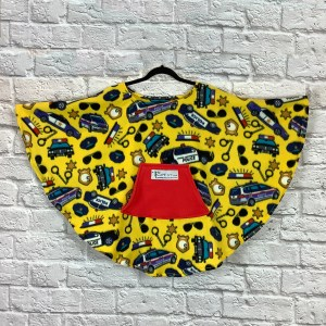 Child Hospital Gift Fleece Poncho Cape Ivy Police in Yellow