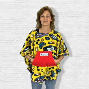 Child Hospital Gift Fleece Poncho Cape Ivy Police Yellow
