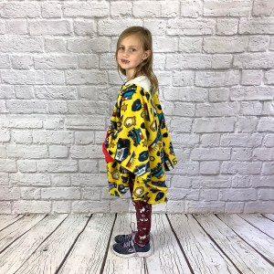 Child Hospital Gift Fleece Poncho Cape Ivy Yellow Police