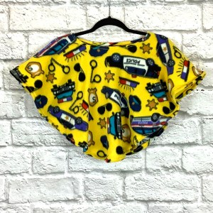 Toddler Hospital Gift Fleece Poncho Cape Ivy Police Cars Yellow