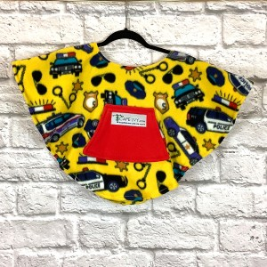 Toddler Hospital Gift Fleece Poncho Cape Ivy Police Cars