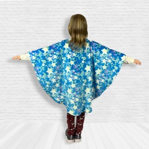 Child Hospital Gift Fleece Poncho Cape Ivy Blue Stars