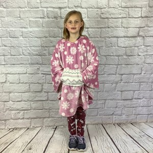 Child Hospital Gift Fleece Poncho Cape Ivy Rose Snowflakes
