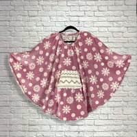 Child Hospital Gift Fleece Poncho Cape Ivy Reversible Rose Snow Flake