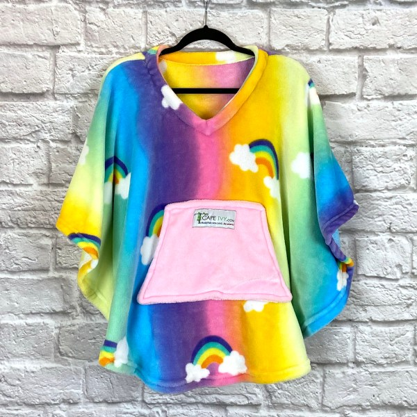 Child Hospital Gift Fleece Poncho Cape Ivy Rainbows
