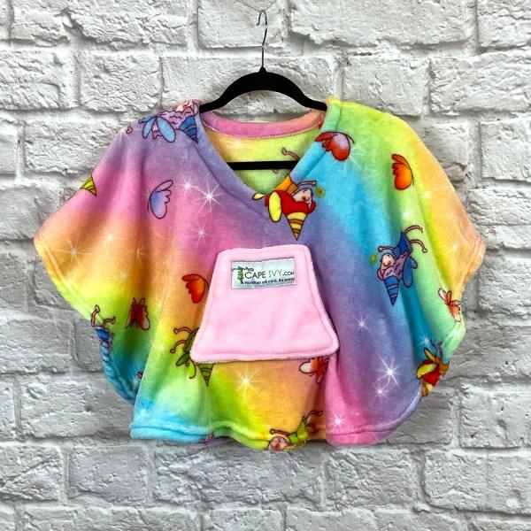 Toddler Hospital Gift Fleece Poncho Cape Ivy Rainbow Fairies