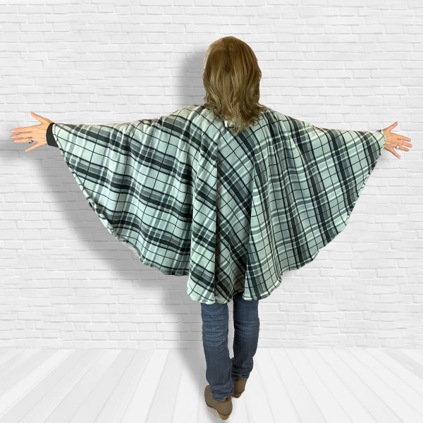 Adult Teen Hospital Gift Fleece Poncho Cape Ivy Gray Black Plaid