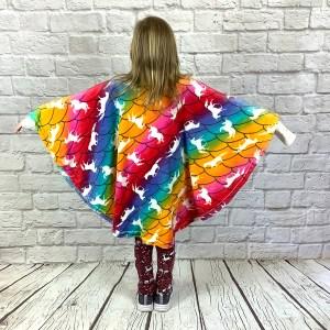 Child Hospital Gift Fleece Poncho Cape Ivy Unicorns on Rainbow Scales