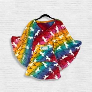 Child Hospital Gift Fleece Poncho Cape Ivy Unicorn Rainbow