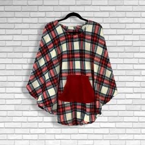 Teen Adult Hospital Gift Fleece Poncho Cape Ivy Red Cream Blue Green Plaid
