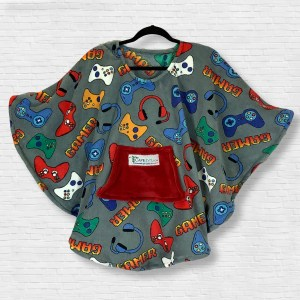 Child Hospital Gift Fleece Poncho Cape Ivy Gray Video Gamer