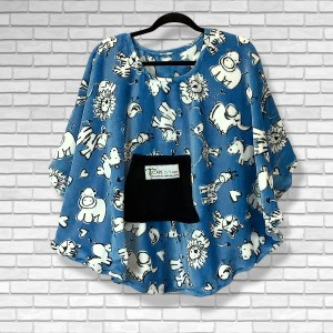 Child Hospital Gift Fleece Poncho Cape Ivy Chalk Animals Blue