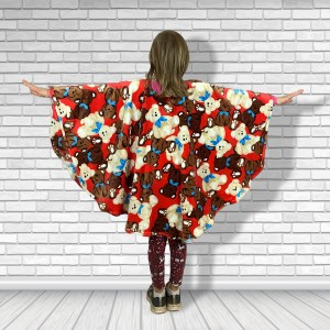 Child Hospital Gift Fleece Poncho Cape Ivy Teddies on Red