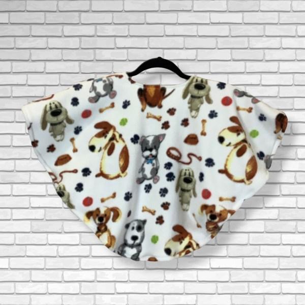 Toddler Hospital Gift Fleece Poncho Cape Ivy Dog Days
