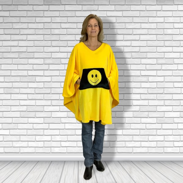 Teen Adult Hospital Gift Fleece Poncho Cape Ivy Yellow Smiley ace