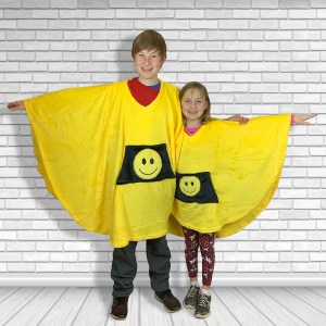 Child Teen Hospital Gift Fleece Poncho Cape Ivy Yellow Smiley Face