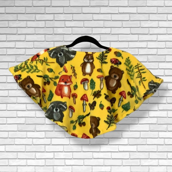 Toddler Hospital Gift Fleece Poncho Cape Ivy Yellow Forest Animal
