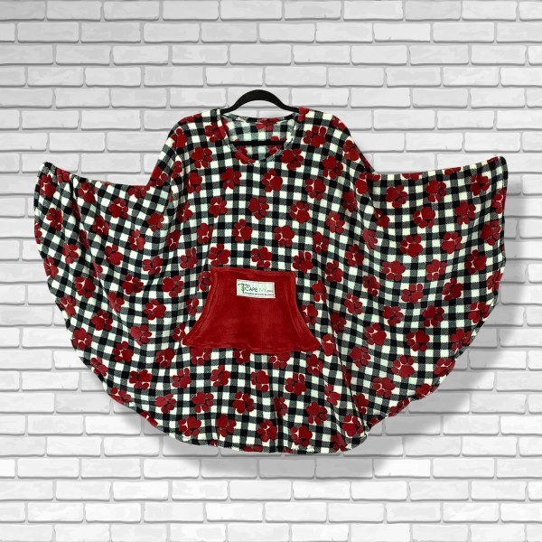 Teen Adult Hospital Gift Fleece Poncho Cape Ivy Red Puppy Paws Plaid