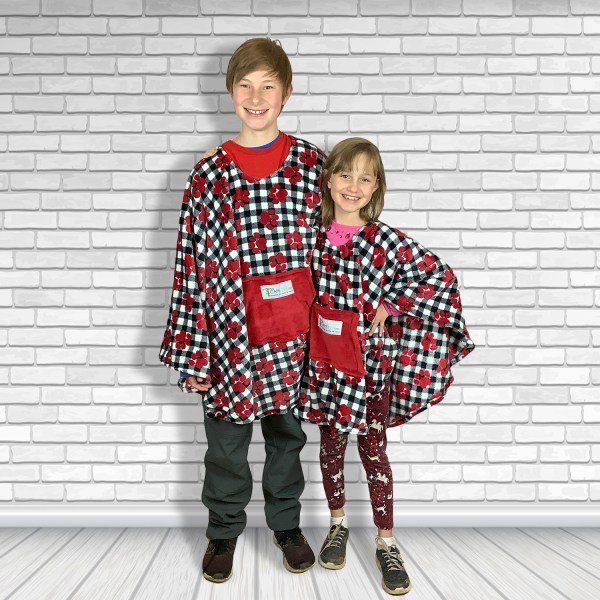 Child Teen Adult Hospital Gift Fleece Poncho Cape Ivy Puppy Paws on Plaid