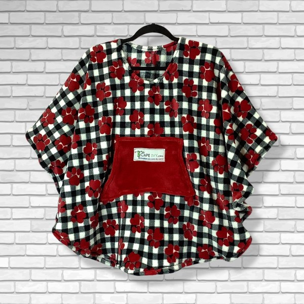 Child Hospital Gift Fleece Poncho Cape Ivy Red Puppy Paws Black White Plaid