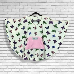 Child Hospital Gift Fleece Poncho Cape Ivy Butterflies