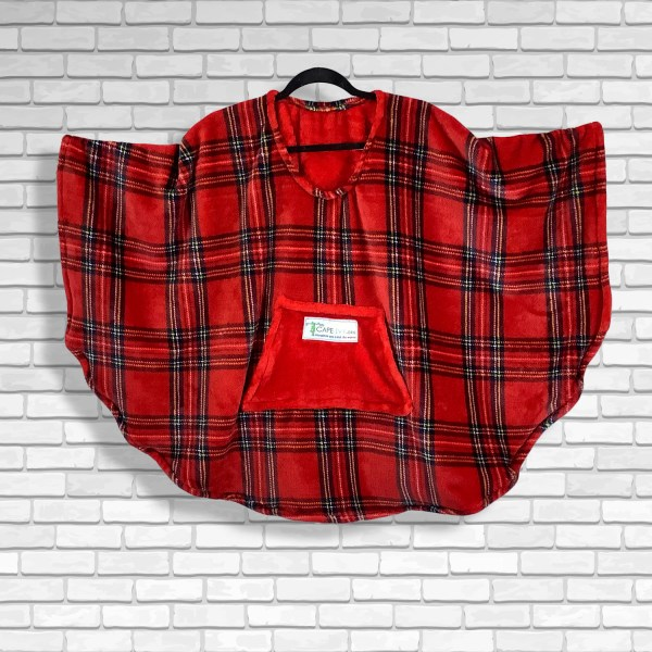 Child Hospital Gift Fleece Poncho Cape Ivy Red Stewart Plaid