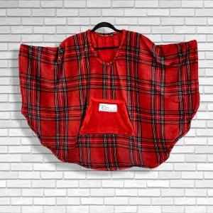 Child Hospital Gift Fleece Poncho Cape Ivy Red Stewart Plaid