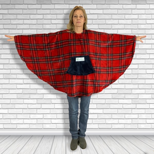 Teen Adult Hospital Gift Fleece Poncho Cape Ivy Stewqrt Plaid