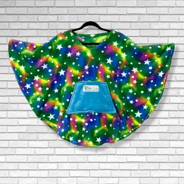 Child Hospital Gift Fleece Poncho Cape Ivy Green Rainbow Stars