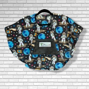 Toddler Hospital Gift Fleece Poncho Cape Ivy Astronauts in Space