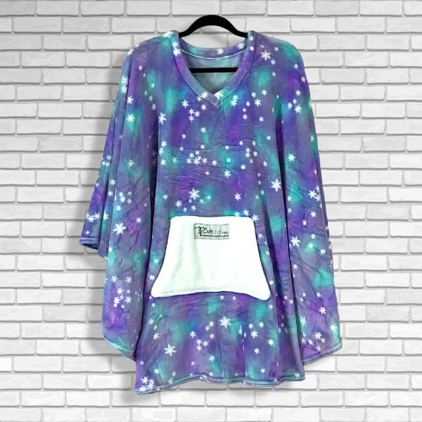 Teen Adult Hospital Gift Fleece Poncho Cape Ivy Purple Green Stars