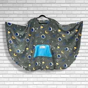 Teen and Adult Hospital Gift Fleece Poncho Cape Ivy Astronauts and Planets on Gray