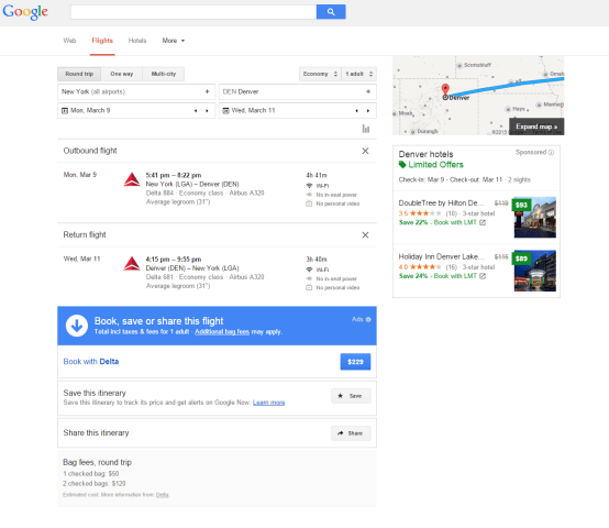Google Flight Information