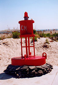 Bouy on Beach Avenue at Ocean marks the Southernmost spot in New Jersey