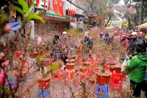 Chợ hoa phố cổ Hà thành ken đặc người ngày giáp Tết
