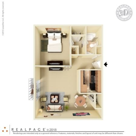 1   2 Bedroom Floor Plans  San Leandro Apartments for Rent 2D Diagram  3D Furnished
