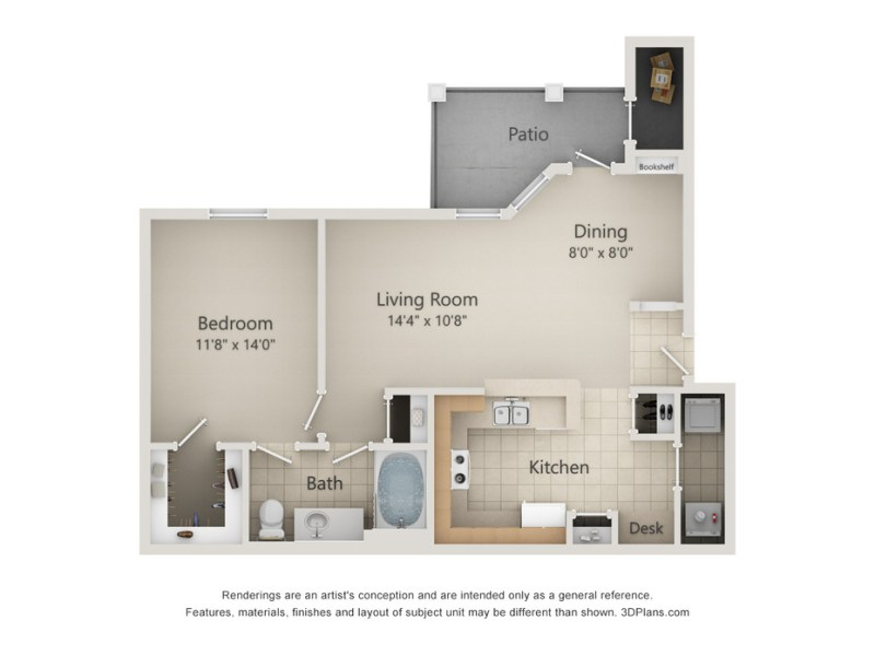 One  Two and Three Bedroom Floor Plans in San Antonio  TX 2D Diagram