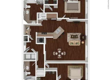 Houston  TX 7 Square Apartment Homes Floor Plans   Apartments in     3D Furnished  3D Furnished