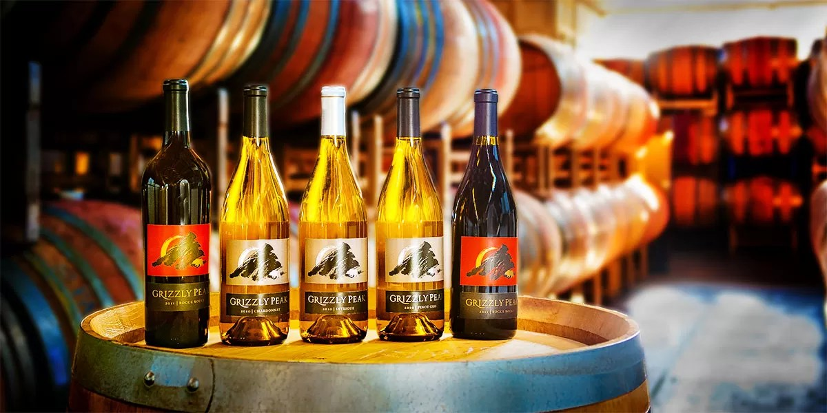 Grizzly Peak Wine Bottles and Barrels