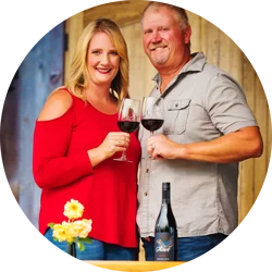 Jen and Ross Allen with 2Hawk 9-1-1 Red Wine Blend