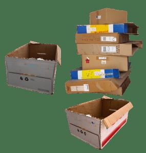 Leftover packing cardboard boxes