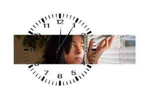 Woman and a clock