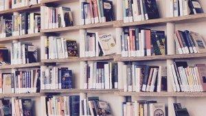 A big bookshelf filled with books