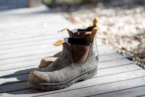 A pair of muddy work boots.