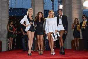 Shannon Bex, Aundrea Fimbres, Aubrey O'Day and Dawn Richard of Danity Kane, at the 2013 MTV Video Music Awards in New York City, are planning a comeback of their own. (Larry Busacca / Getty Images for MTV)