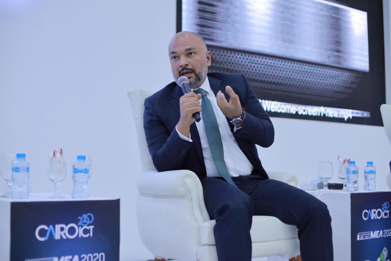 حازم متولي خلال المشاركة فى الجلسة الافتتاحية بمعرض القاهرة الدولي للاتصالات