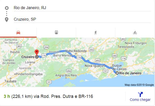 Como chegar do Rio de Janeiro até a Clínica de Cruzeiro SP